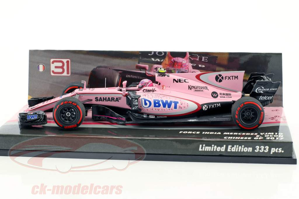 ck modelcars 447170231 esteban ocon force india vjm10 31 gp chine formule 1 2017 1 43. Black Bedroom Furniture Sets. Home Design Ideas