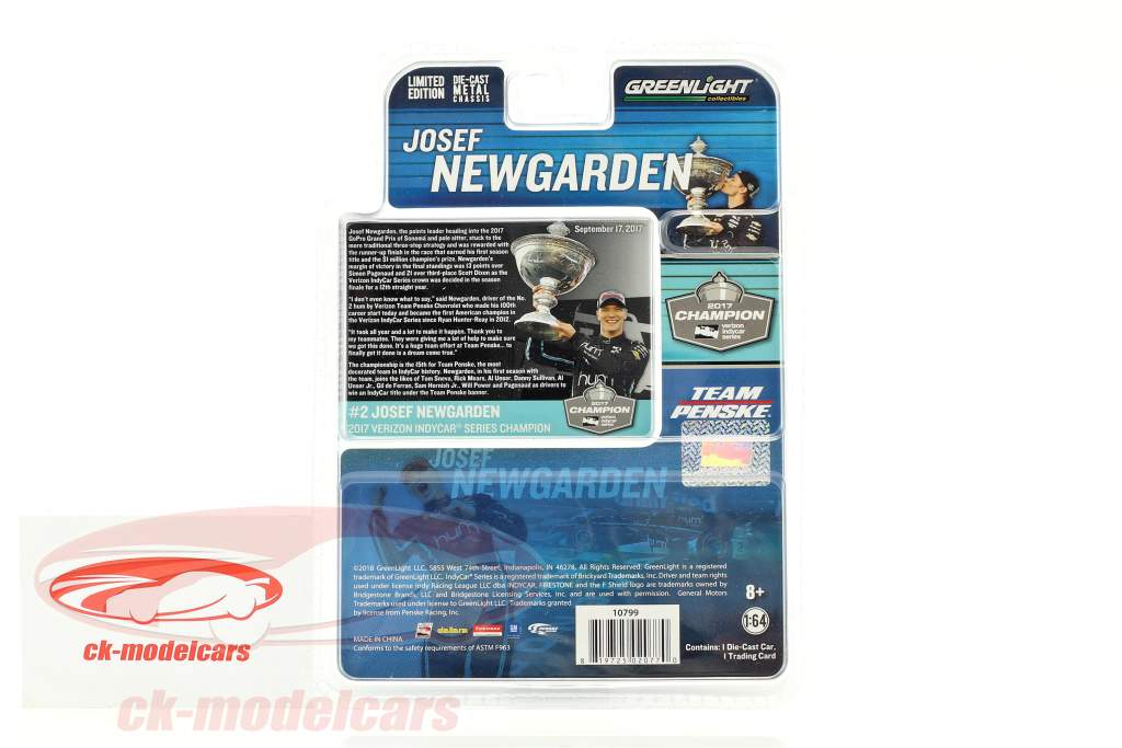 Josef Newgarden Chevrolet #2 champion IndyCar Series 2017 Team Penske 1:64 Greenlight