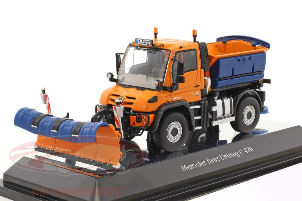 Mercedes-Benz Unimog U 400 Schmidt Tarron & Stratos winter service orange 1:50 NZG