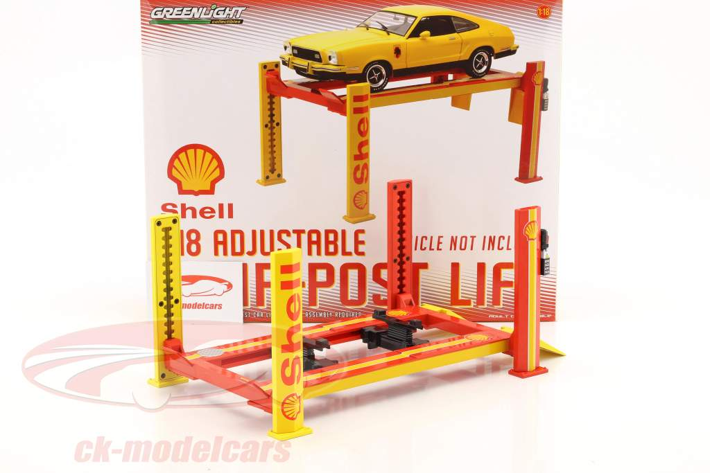 Adjustable Four Post hydraulic ramp Shell red / yellow for model cars in 1:18 Greenlight