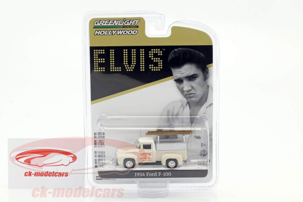 Ford F-100 Pick-Up Crown Electric Co. Construction year 1954 Elvis Presley White 1:64 Greenlight