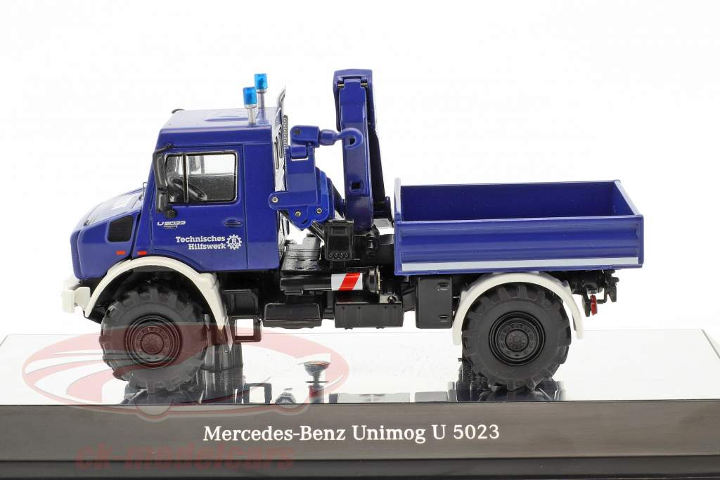 Mercedes-Benz Unimog U 5000 THW con gru blu 1:50 NZG