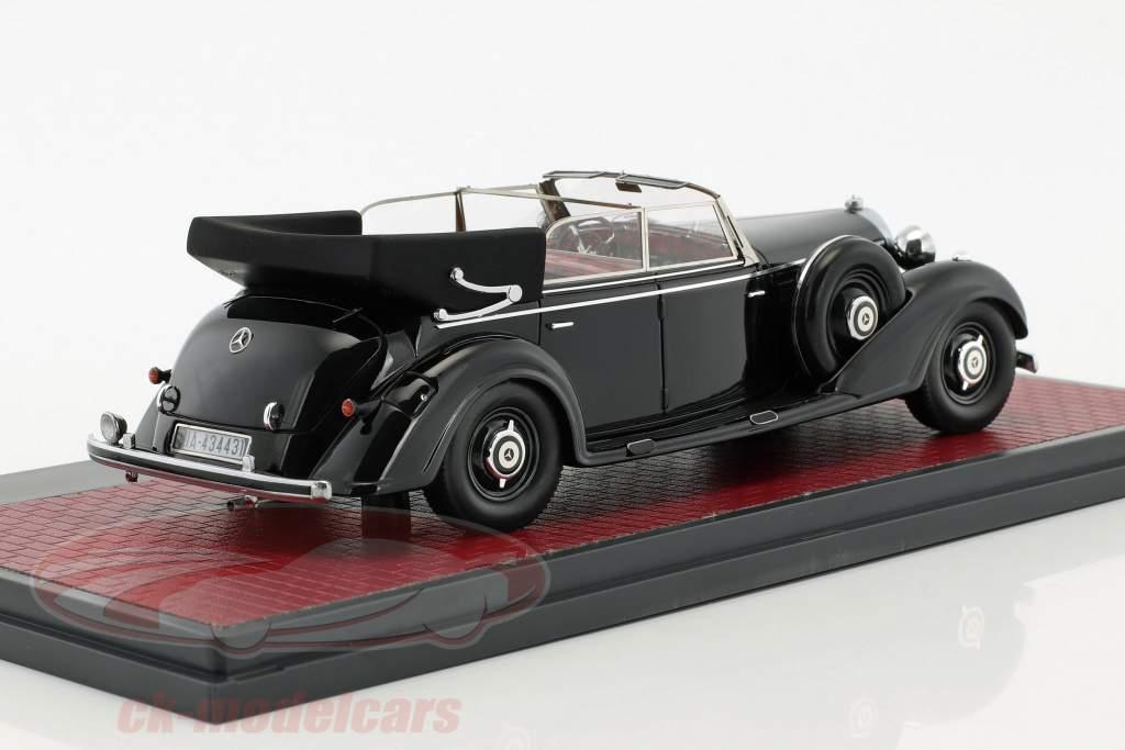 Mercedes-Benz 770 Cabriolet D open anno di costruzione 1938 nero 1:43 Matrix