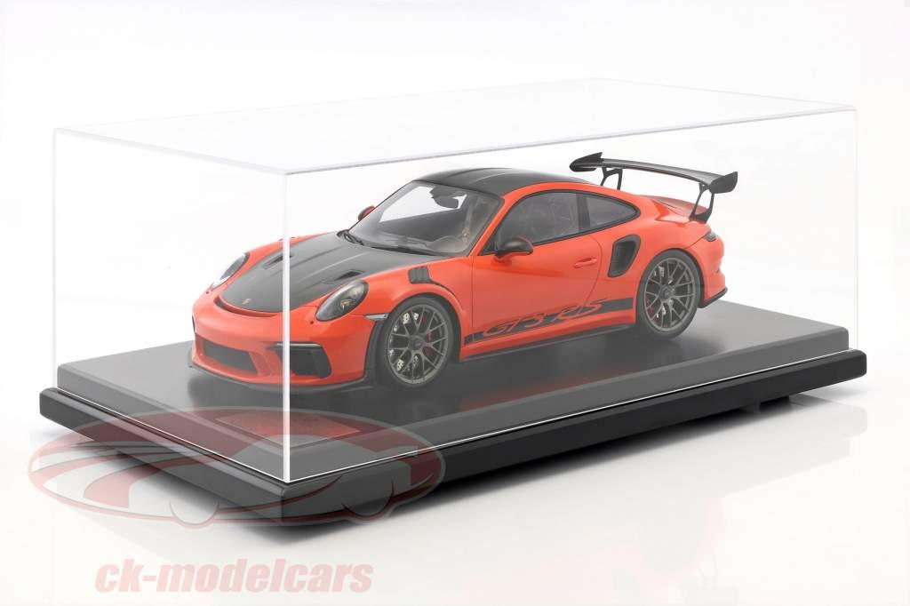 Porsche 911 (991 II) GT3 RS Weissach Package 2018 avec vitrine lave orange 1:12 Spark
