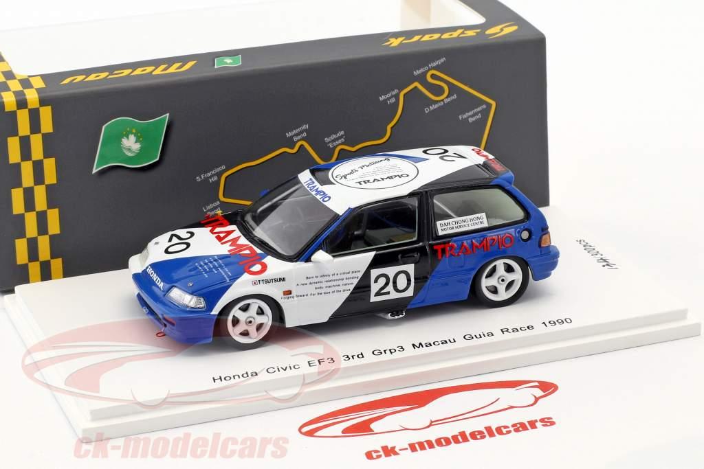 Honda Civic EF3 #20 3 Grp3 Macau Guia Race 1990 Tomohiko Tsutsumi 1:43 Spark