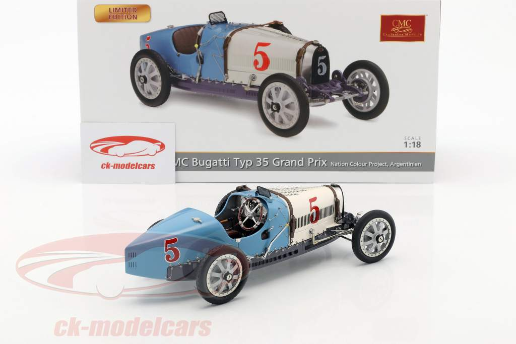 Bugatti Type 35 Grand Prix #5 Nation Colour Project Argentina 1:18 CMC