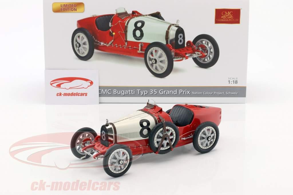 Bugatti Typ 35 Grand Prix #8 Nation Colour Project Schweiz 1:18 CMC