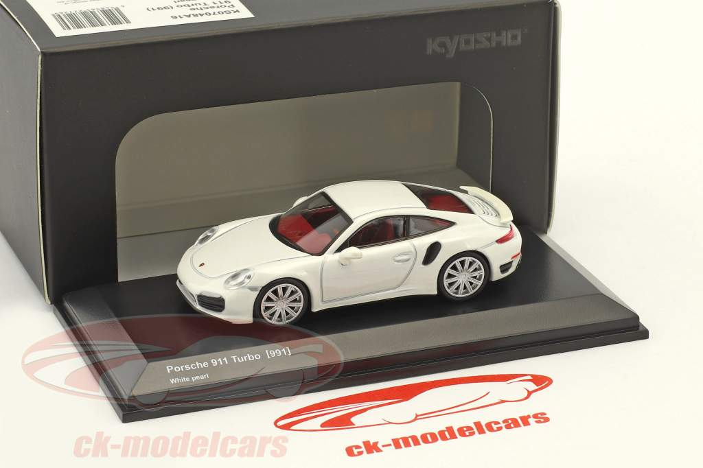 Porsche 911 (991) Turbo pearl white 1:64 Kyosho