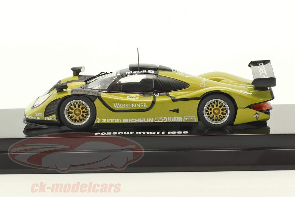 Porsche 911 GT1 #1 Test Car 1998 green / black 1:64 Kyosho