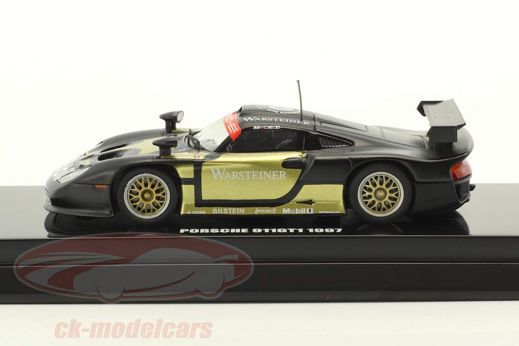 Porsche 911 GT1 #1 Test Car 1997 nero / oro 1:64 Kyosho