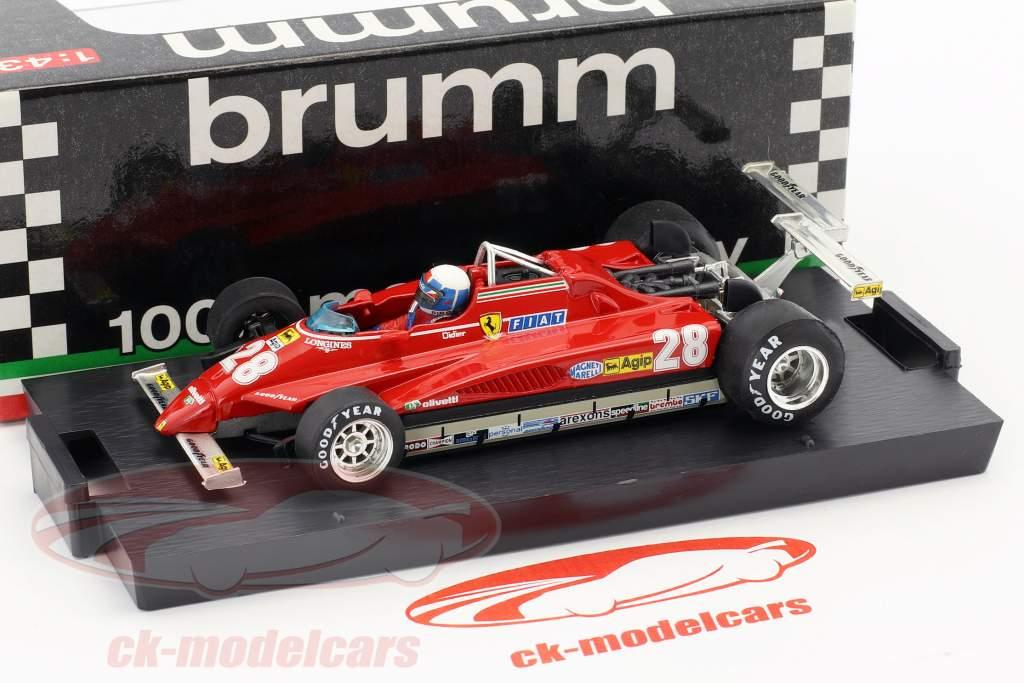 Didier Pironi Ferrari 126C2 #28 gagnant USA GP Long Beach formule 1 1982 1:43 Brumm