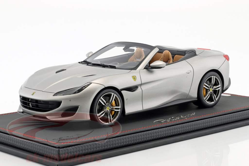 Ferrari Portofino year 2017 mat silver 1:18 BBR