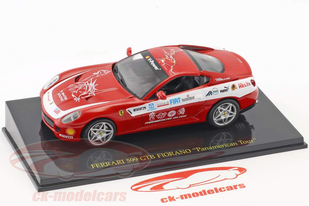 Ferrari 599 GTB Fiorano Panamerican Tour rosso con vetrina 1:43 Altaya