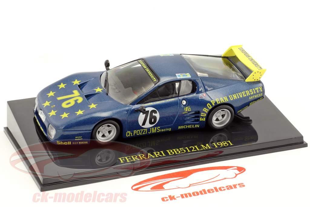 Ferrari BB 512 LM #76 24h LeMans 1981 Xhenceval, Dieudonné, Regout mit Vitrine 1:43 Altaya