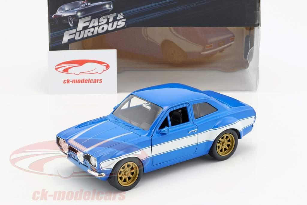 Brian's Ford Escort RS2000 MKI Fast & Furious 6 2013 blu / bianco 1:24 Jada Toys