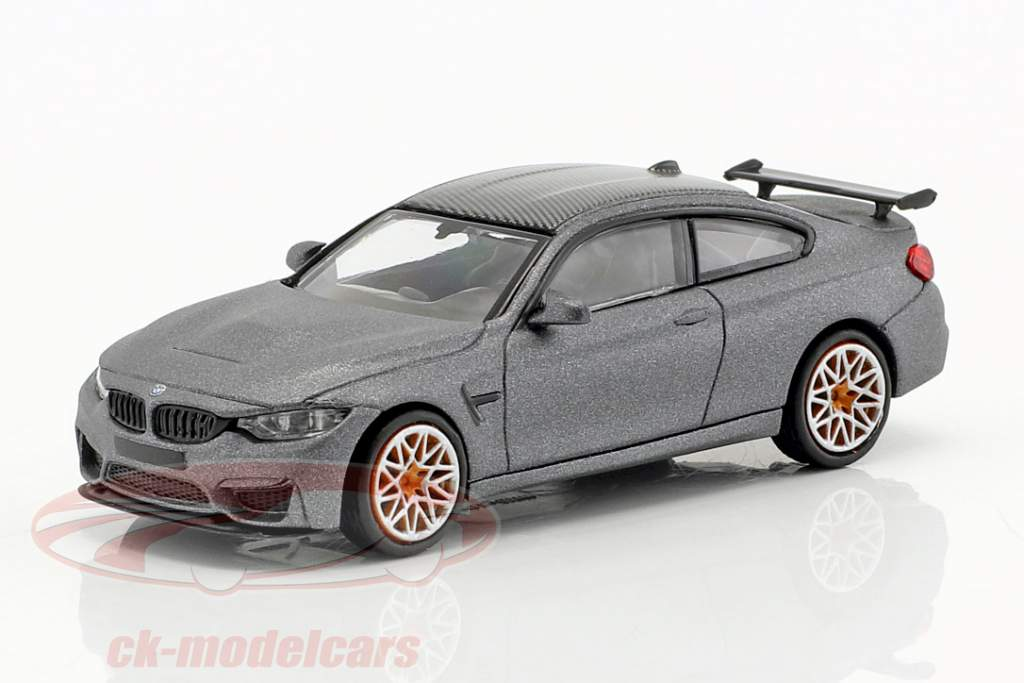 BMW M4 GTS Baujahr 2016 matt grau metallic / orange 1:87 Minichamps