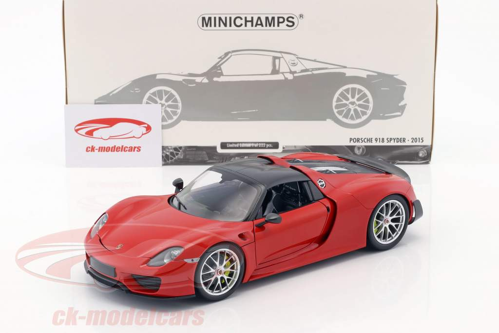 Porsche 918 Spyder Weissach Package year 2015 red 1:18 Minichamps