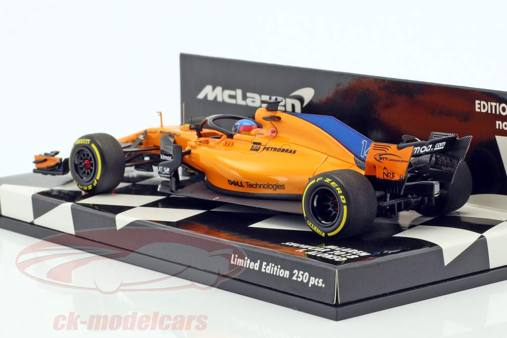 Fernando Alonso McLaren F1 Team #14 formula 1 2018 showcar 1:43 Minichamps