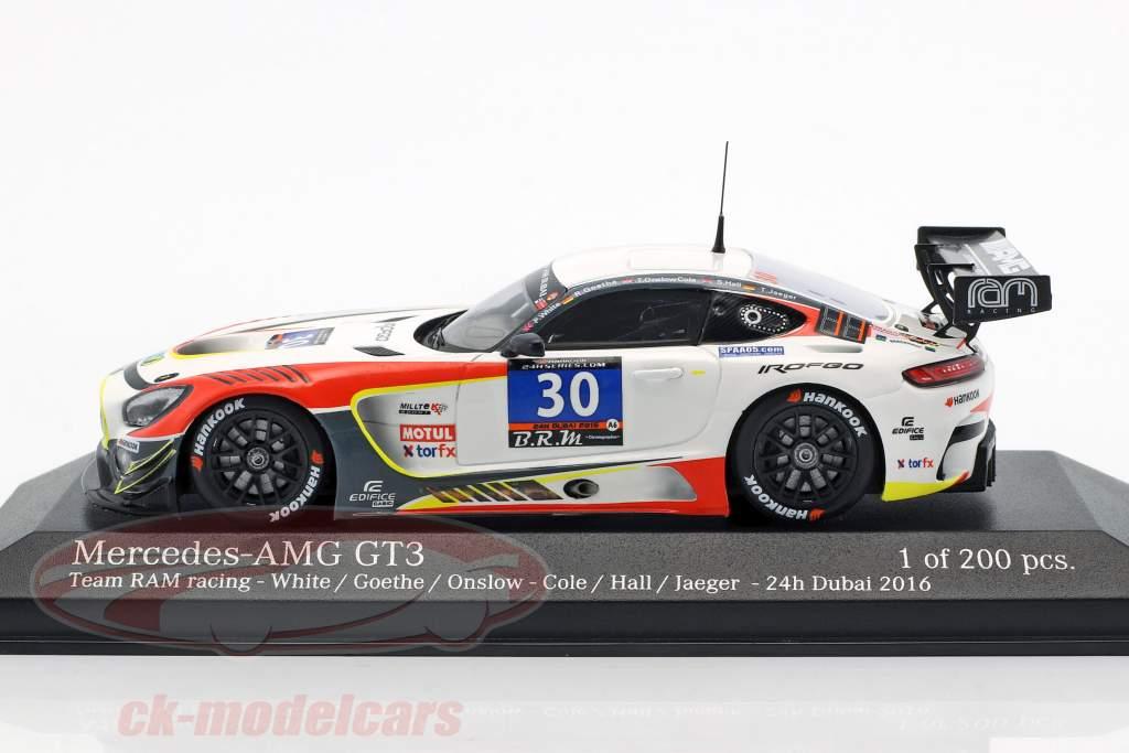 Mercedes-Benz AMG GT3 #30 24h Dubai 2016 White, Goethe, Cole, Hall, Jaeger 1:43 Minichamps