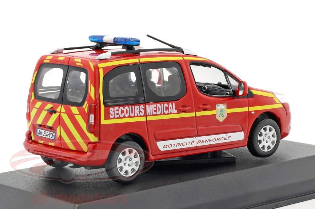 Peugeot Partner Baujahr 2010 Pompiers Secours Medical rot 1:43 Norev