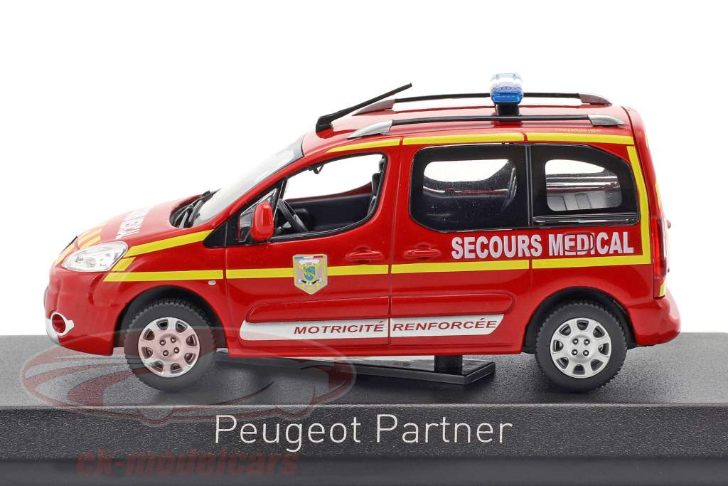 Peugeot Partner year 2010 Pompiers Secours Medical red 1:43 Norev