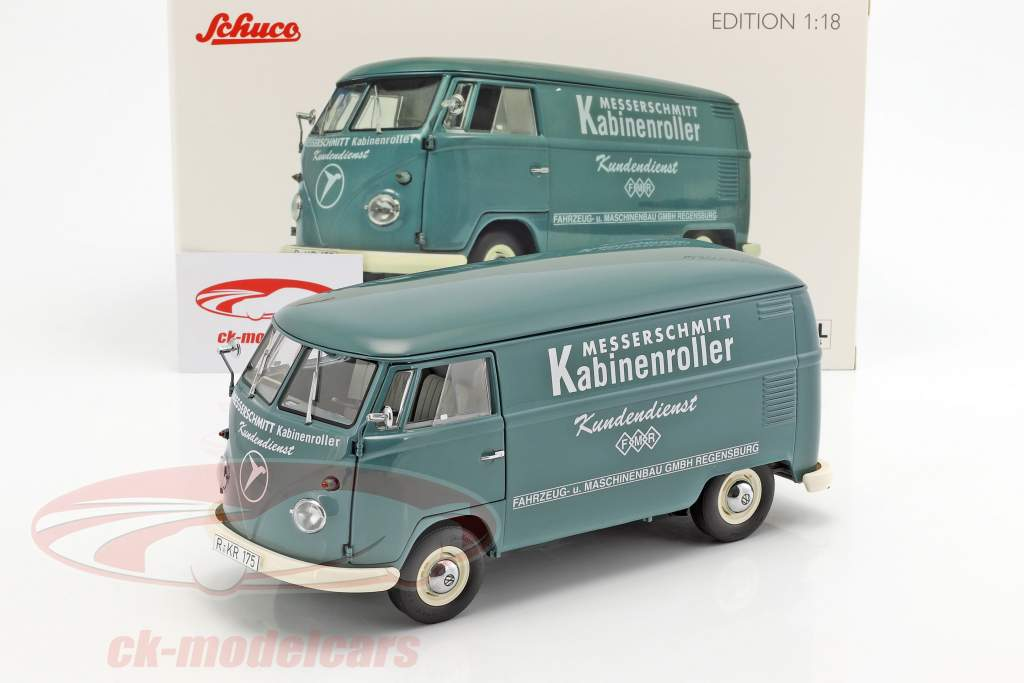 Volkswagen VW T1b Transporter Messerschmitt verde 1:18 Schuco