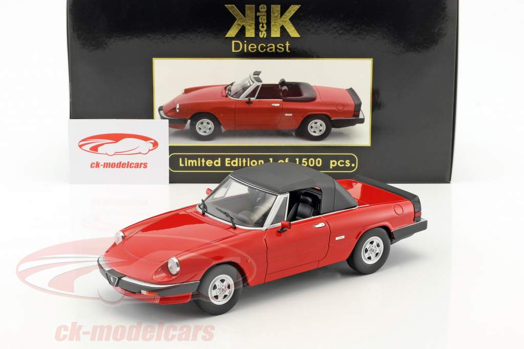 Alfa Romeo Spider 3 series 2 with removable softtop year 1986 red 1:18 KK-Scale