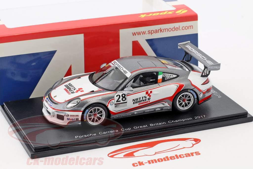 Porsche 911 GT3 Cup #28 champion Porsche Carrera Cup Great Britain 2017 C. Eastwood 1:43 Spark