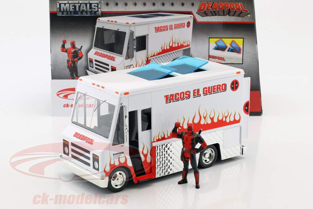 Taco Truck film Deadpool (2016) bianco / rosso con cifra 1:24 Jada Toys