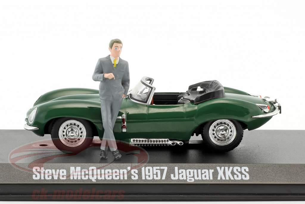 Steve McQueen's Jaguar XKSS Baujahr 1957 grün mit Steve McQueen Figur 1:43 Greenlight