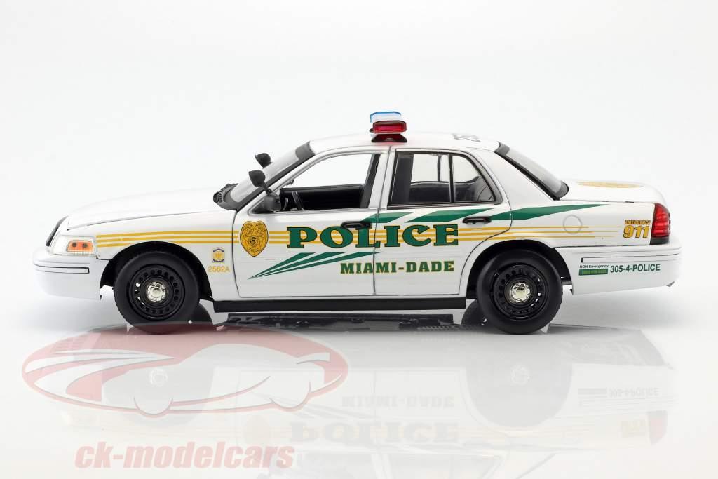 Ford Crown Victoria Police Interceptor 2003 serie TV CSI: Miami (2002-2012) bianco 1:18 Greenlight