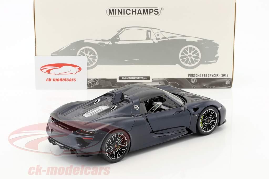 Porsche 918 Spyder year 2015 blue metallic 1:18 Minichamps