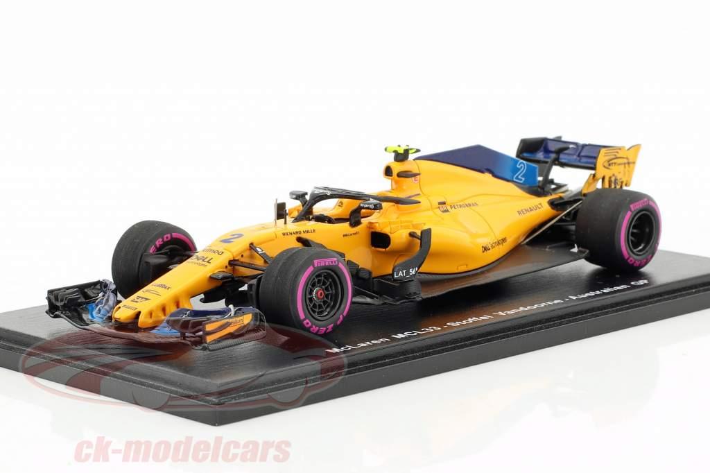 Stoffel Vandoorne McLaren MCL33 #2 9 australien GP formule 1 2018 1:43 Spark