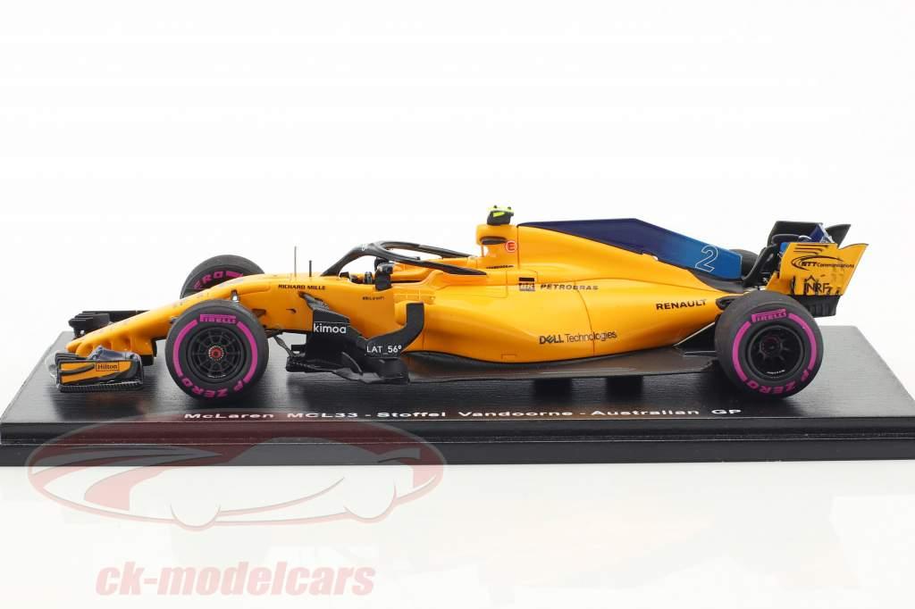 Stoffel Vandoorne McLaren MCL33 #2 9th Australian GP formula 1 2018 1:43 Spark