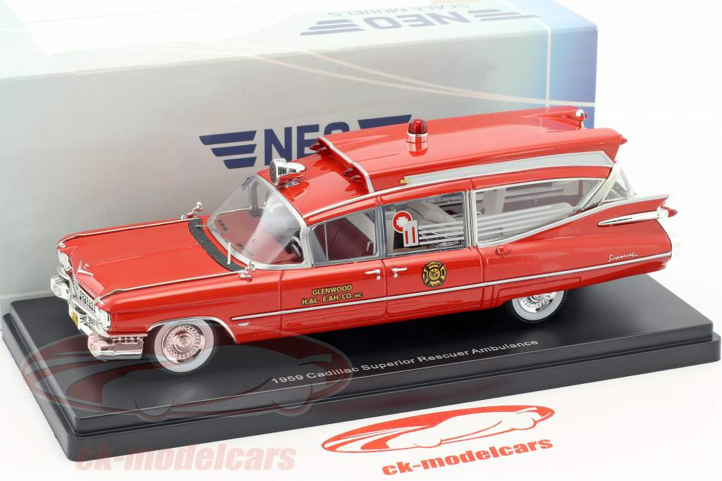 Cadillac Superior Rescuer Ambulance year 1959 red 1:43 Neo
