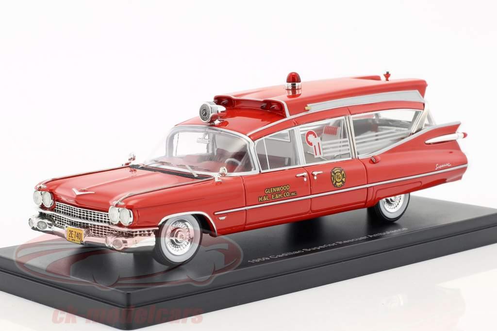 Cadillac Superior Rescuer Ambulance Baujahr 1959 rot 1:43 Neo