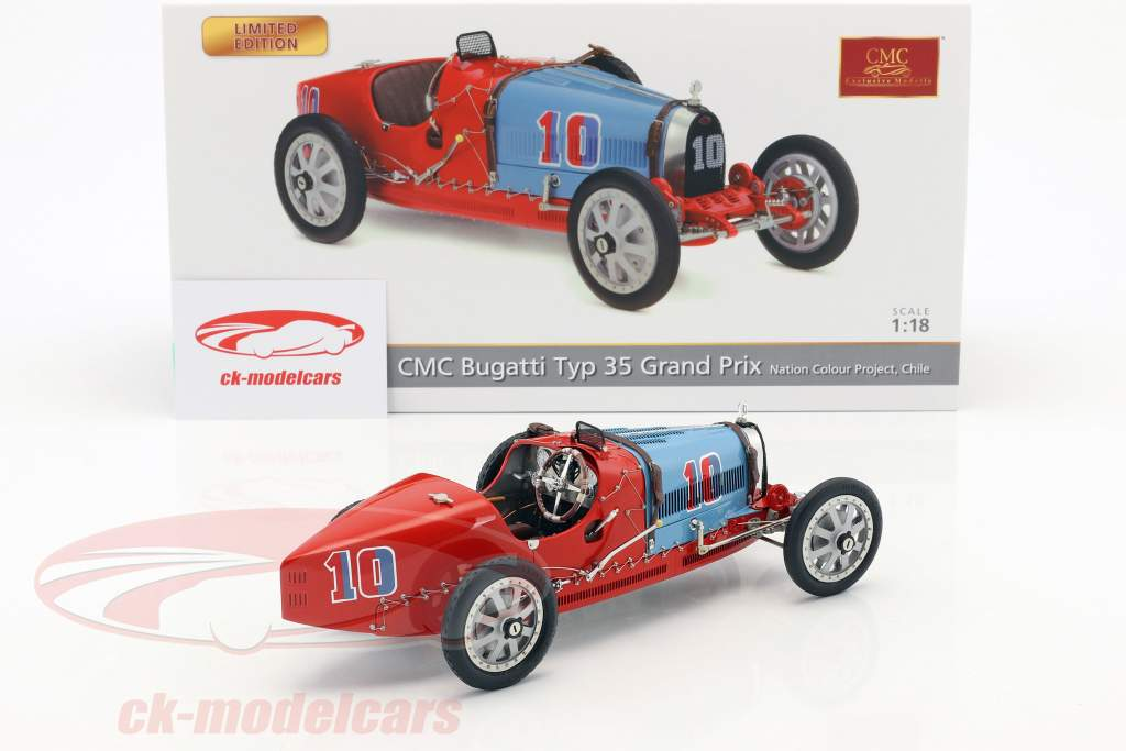 Bugatti Typ 35 Grand Prix #10 Nation Colour Project Chile 1:18 CMC