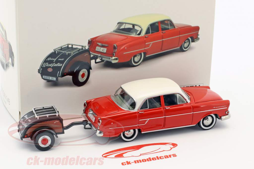 Opel Kapitän With Westfalia trailer red / white 1:43 schuco