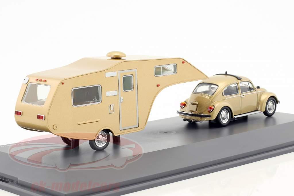 Volkswagen VW Beetle With Caravan gold metallic 1:43 Schuco