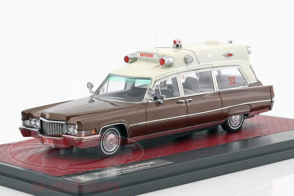 Cadillac Superior 51  Ambulance Baujahr 1970 brown metallic / weiß 1:43 matrix