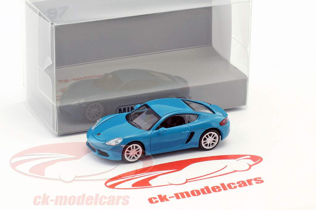 Porsche 718 Cayman year 2016 blue 1:87 Minichamps