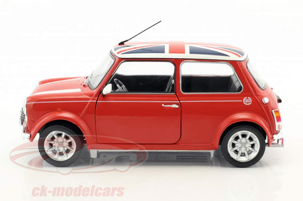 Mini Cooper 1.3i Sport Pack year 1997 red with Union Jack 1:18 Solido