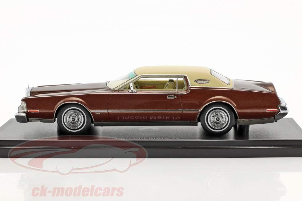 Lincoln Continental Mark IV year 1973 brown metallic / beige 1:43 Neo