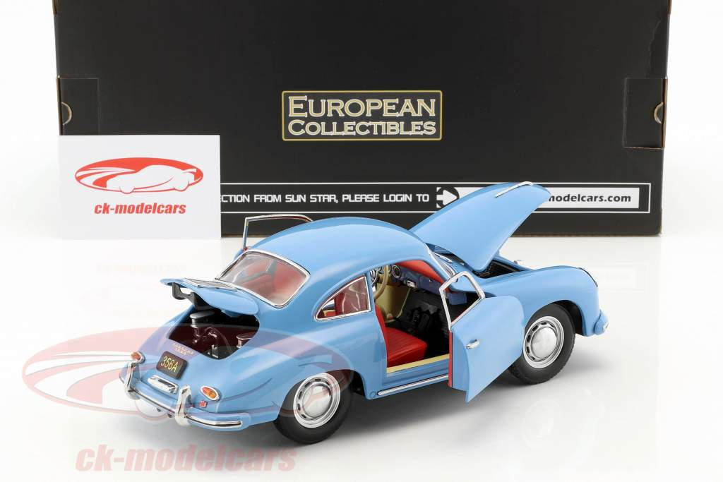 Porsche 356 A 1500 GS Carrera GT anno di costruzione 1957 blu 1:18 Sun Star