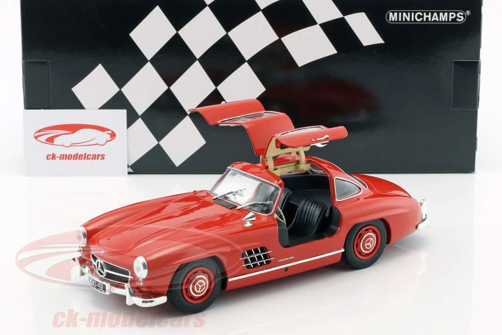 Mercedes-Benz 300 SL (W198) Gullwing Construction year 1955 red 1:18 Minichamps