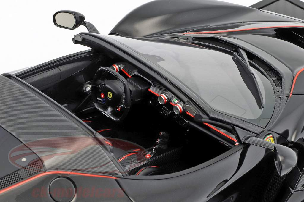 Ferrari LaFerrari Aperta Spider year 2016 daytona black / corsa red with showcase 1:12 BBR