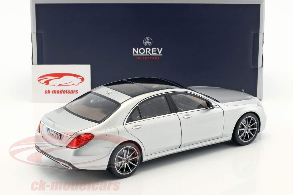 Mercedes-Benz S-Class AMG-Line anno di costruzione 2018 argento metallico 1:18 Norev