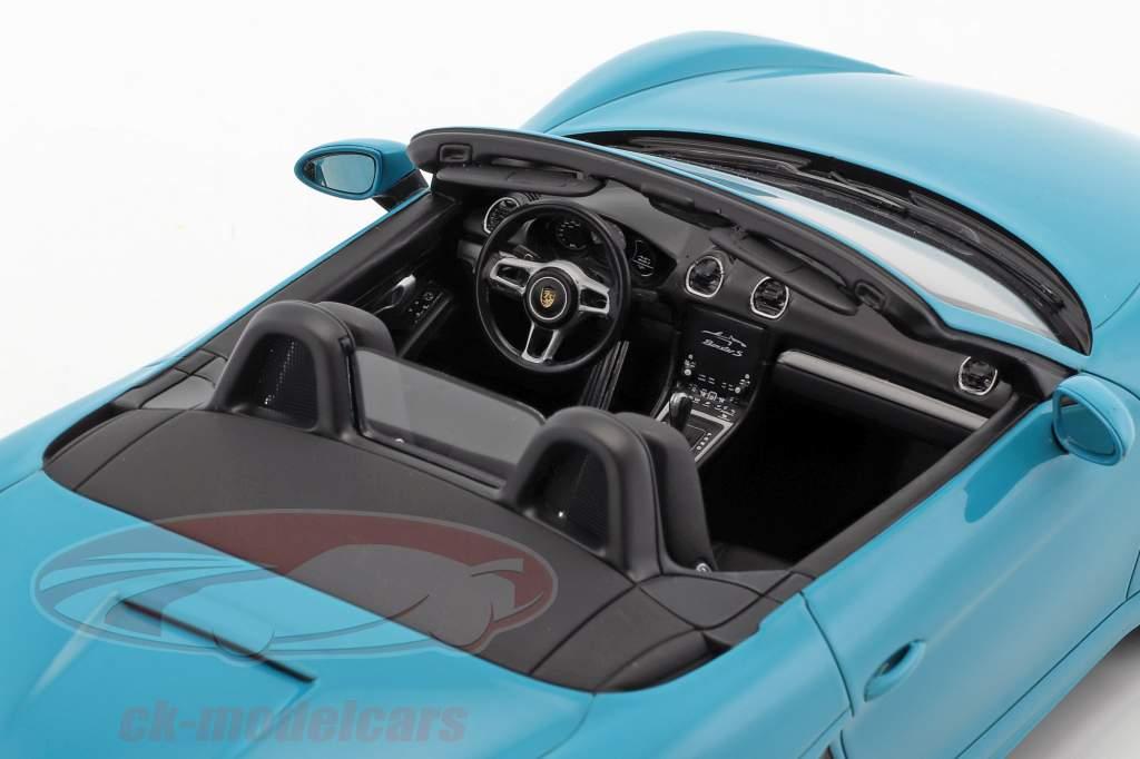 Porsche 718 Boxster S Baujahr 2017 miami blau 1:18 Spark