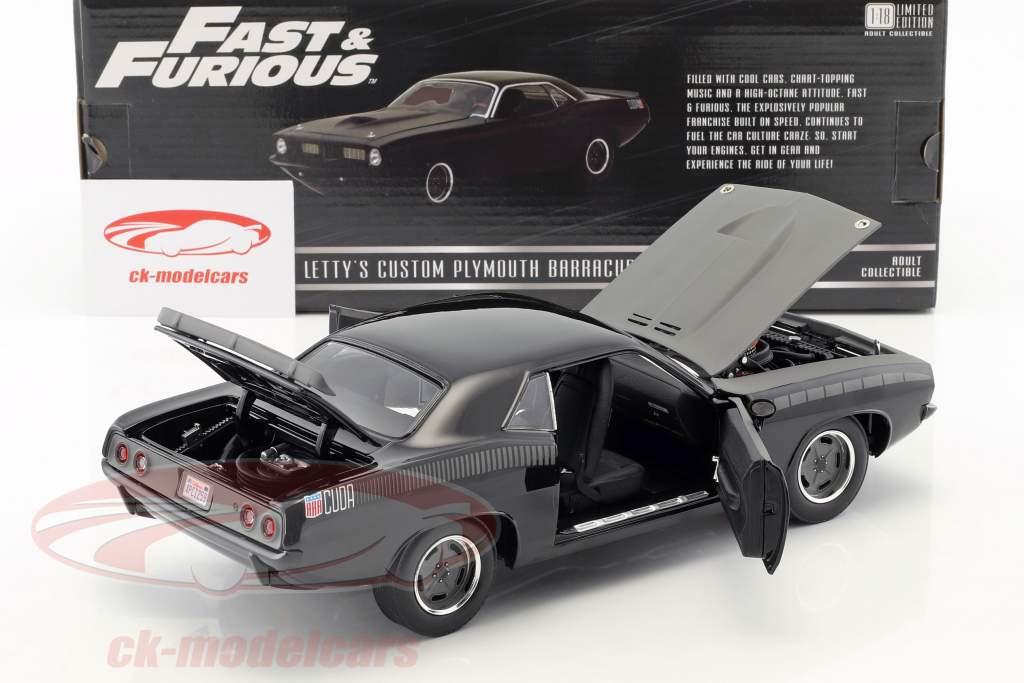 Letty's Custom Plymouth Barracuda Film Fast & Furious 7 (2015) schwarz 1:18 Greenlight