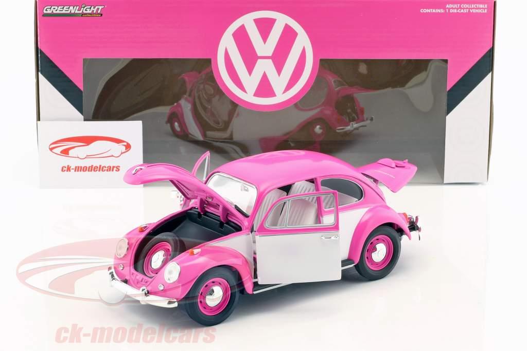 Volkswagen VW scarafaggio RHD anno di costruzione 1967 rosa / bianco 1:18 Greenlight